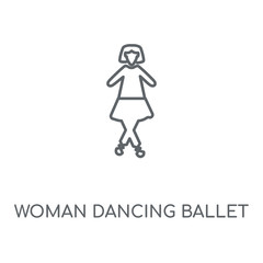 Woman Dancing Ballet linear icon. Woman Dancing Ballet concept stroke symbol design. Thin graphic elements vector illustration, outline pattern on a white background, eps 10.