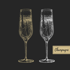 Vector illustration of hand drawing two champagne glasses