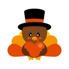 cartoon cute turkey in hat vector with heart