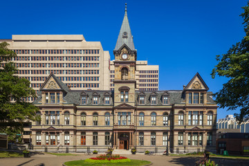 The facade of the Halifax City Hall, Halifax, Nova Scotia, Canada