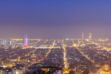 Poster de jardin Paris Barcelona cityscape at night