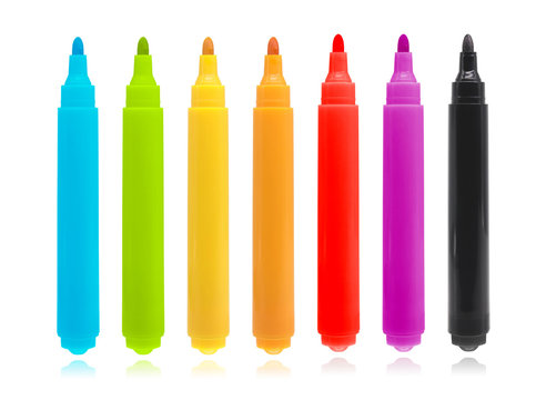 Colorful marker pen set on isolated background with clipping path. Vivid highlighter and blank space for your design or montage.