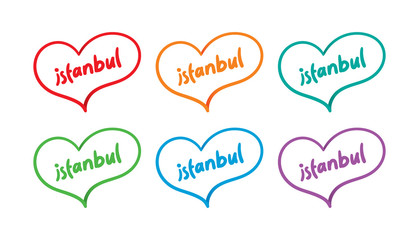 colorful handwritten istanbul with colorful hearts vector