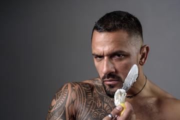 Latin man Shaving. Beard styling cut. Ideas about Barbershop and Barber salon.