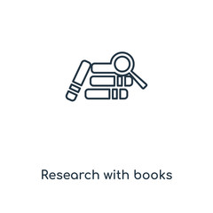 research with books icon vector