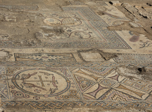 Roman Mosaics Ruins at Ancient Byzantine Church in Holy land