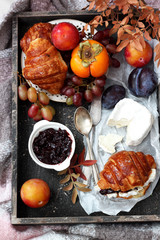 Autumn breakfast in french style