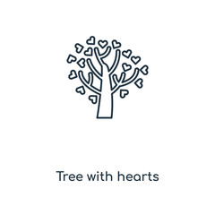 Tree with hearts concept line icon. Linear Tree with hearts concept outline symbol design. This simple element illustration can be used for web and mobile UI/UX.
