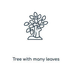 Tree with many leaves concept line icon. Linear Tree with many leaves concept outline symbol design. This simple element illustration can be used for web and mobile UI/UX.