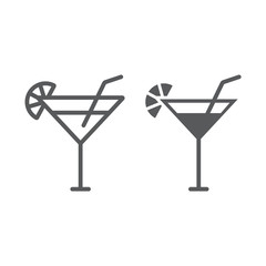 Cocktail line and glyph icon, beverage and drink, alcohol sign, vector graphics, a linear pattern on a white background.