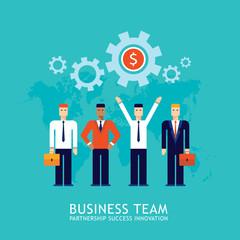 Businessman partnership Teamwork Collaboration Successful business team concept Flat design Vector illustration