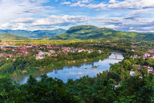 View of city along the Khan river of Luang Prabang, Laos