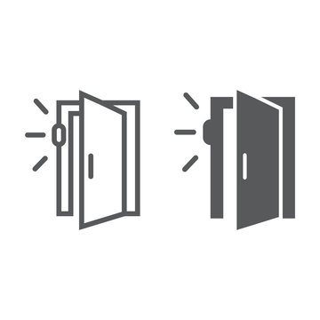 Door sensor line and glyph icon, access and security, automatic door sign, vector graphics, a linear pattern on a white background.