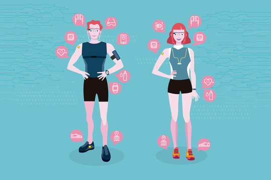 Man and woman with wearable technology for fitness