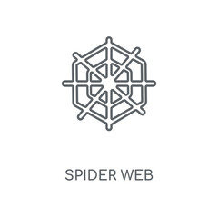 Spider web linear icon. Spider web concept stroke symbol design. Thin graphic elements vector illustration, outline pattern on a white background, eps 10.