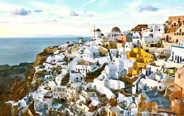 Foto auf Leinwand Weiß Oia village Thira Santorini Greece.