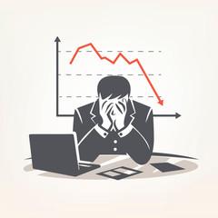 businessman sitting in big depression, financial crisis concept