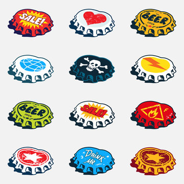 Collection of bended bottle caps with different labels. Vector graphics set.