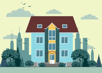 Building in flat style. Stock Vector Illustration
