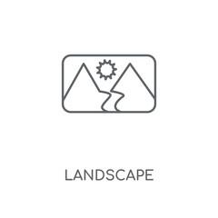 Landscape linear icon. Landscape concept stroke symbol design. Thin graphic elements vector illustration, outline pattern on a white background, eps 10.
