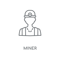 Miner linear icon. Miner concept stroke symbol design. Thin graphic elements vector illustration, outline pattern on a white background, eps 10.