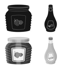 Vector illustration of can and food symbol. Set of can and package vector icon for stock.