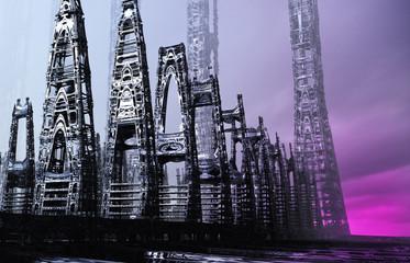Abstract sci-fi city art