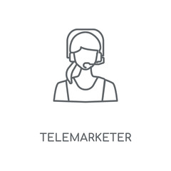 Telemarketer linear icon. Telemarketer concept stroke symbol design. Thin graphic elements vector illustration, outline pattern on a white background, eps 10.