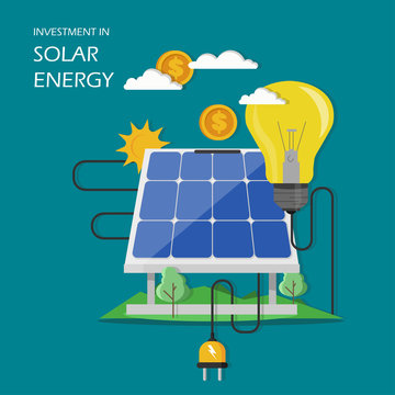 Investment in solar energy vector flat illustration