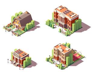 Vector isometric educational buildings set