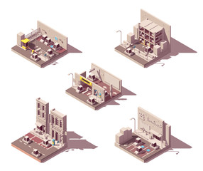 Vector isometric car parking icon set