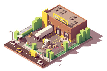 Vector isometric low poly warehouse building