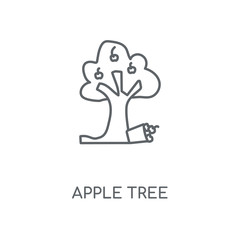 Apple tree linear icon. Apple tree concept stroke symbol design. Thin graphic elements vector illustration, outline pattern on a white background, eps 10.