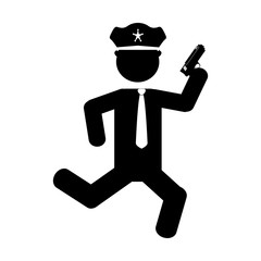 police agent running with gun avatar character