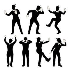 man mime silhouette set