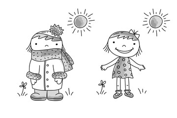 Girl in dress, girl in warm clothes in hot summer day, vector hand drawn illustration.