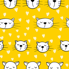 Seamless pattern with cats and heart on yellow background. Wallpaper and fabric design.