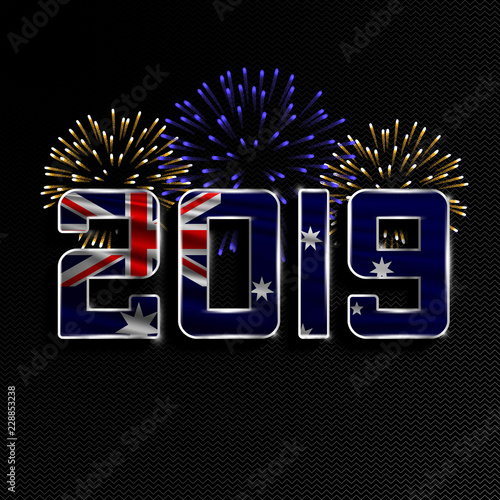 Australia Christmas 2019 Happy New Year and Merry Christmas. 2019 New Year background with