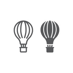 Hot air balloon line and glyph icon, airship and flight, aerostat sign, vector graphics, a linear pattern on a white background.