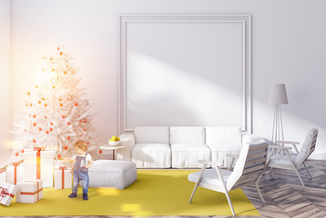 White living room with christmas tree, baby boy