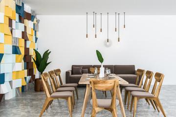 Brown sofa dining room interior