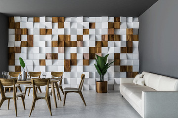 Wooden tile dining room interior, sofa
