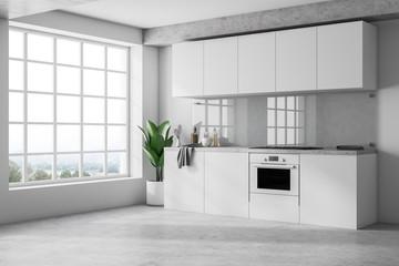 Minimalistic white kitchen interior