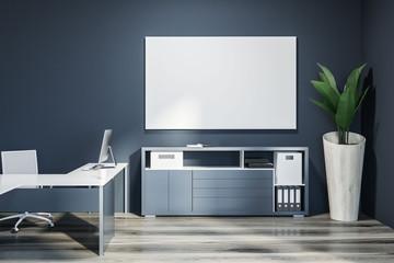 Dark gray ceo office interior, poster
