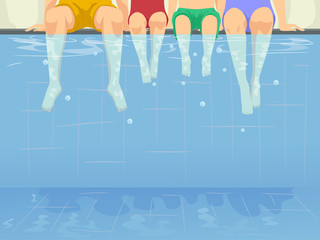 Family Swimming Pool Illustration