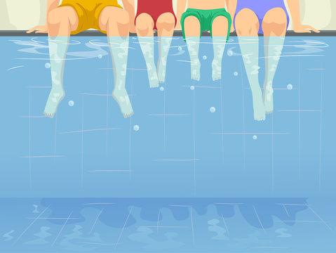 Family Swimming Pool Illustration