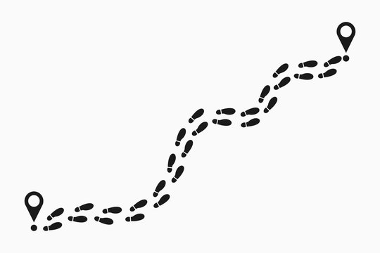 Human footprints tracking path. Shoes trail track with location pin. Footsteps route. Vector illustration.