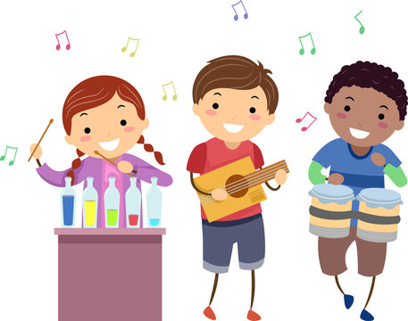 Stickman Kids Music Instruments Illustration
