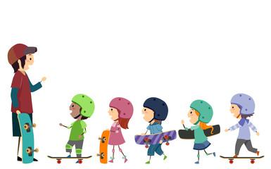 Stickman Kids Skateboard Trainer Illustration