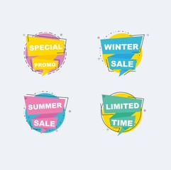 Sale discount promo design ribbon for tag, label, banner, poster, flyer and background vetor